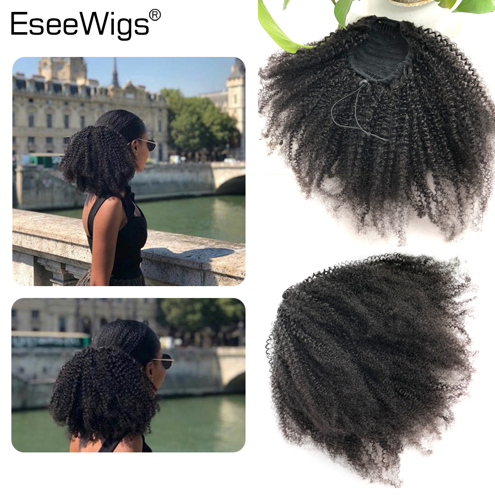 Eseewigs Afro Kinky Curly Human Hair Ponytail For Women Natural Color Remy Hair 1 Piece Clip In Drawstring  4B 4C Ponytails