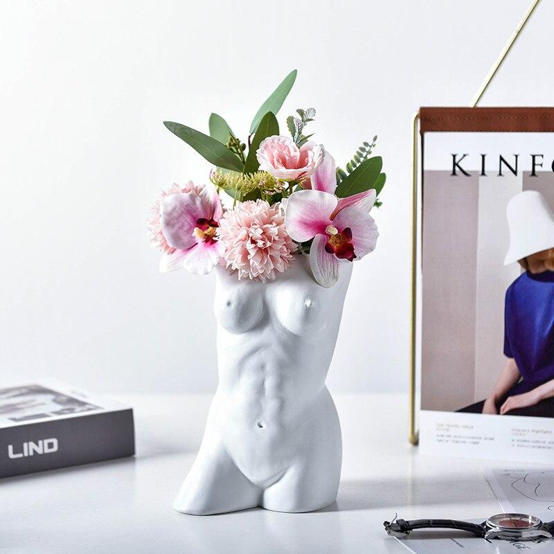 Big Offer B5e9 Ceramic Decorative Lady Model Vase For Flowers Table Office Living Room Ornaments Porcelain Art Piece Figurine Modern Home Decor Hs Igngames Co