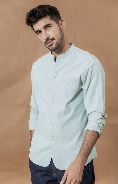 Stand Collar Vertical Striped 100% Cotton Classical Denim Slim Fit Minimalist Casual Men Shirt