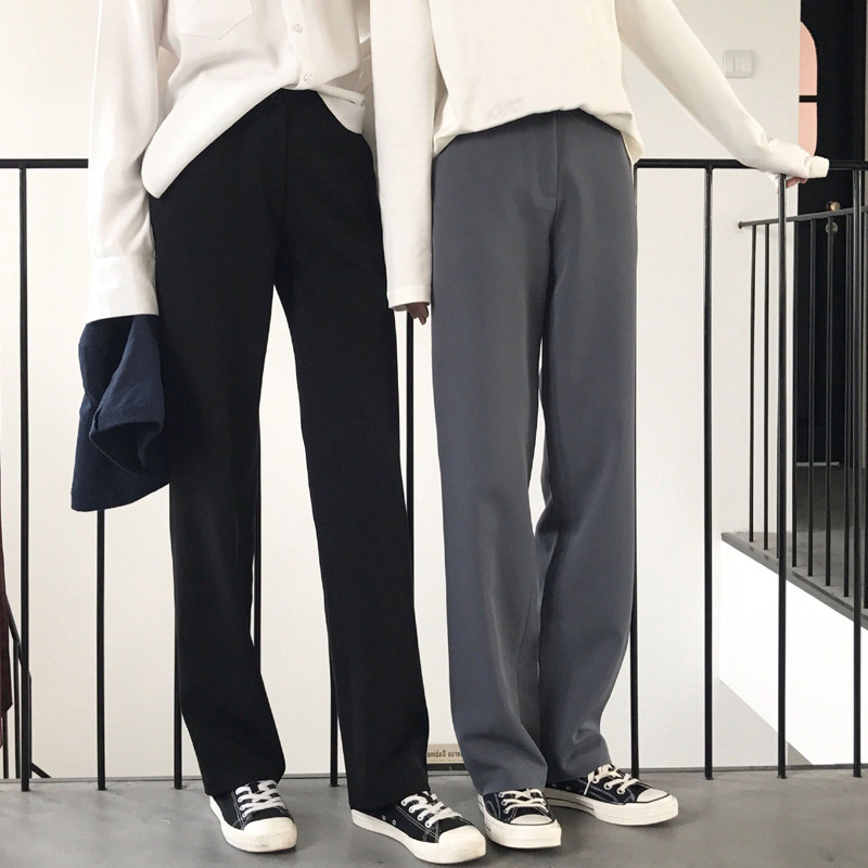2019 Autumn Winter Women Pants Straight High Waist Loose Knitting Office Korean Style Casual Black Long Pants P9060