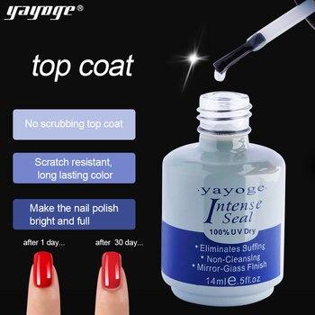 Yayoge 14ml top coat y base coat Gel polish UV Led Nail Primer Bonder and Intense Seal FAST Drying Gel polish base for Nails art