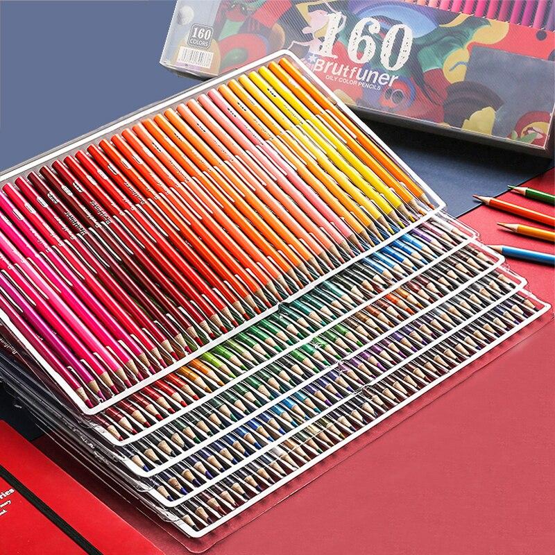 Brutfuner 48/72/120/160/180 Professional Oil Colored Pencil Wooden Soft Watercolor Colour Pencil School Draw Sketch Art Supplies