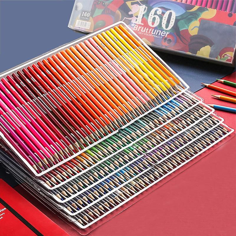 Brutfuner 48/72/120/160/180 цветные профессиональные масляные цветные карандаши Дерево мягкий водный цветной карандаш для школы Рисование принадлежно...