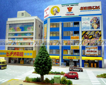 1:150 N-Scale Japanese Architectural Scenes Akihabara Electronics Building Paper Model 1
