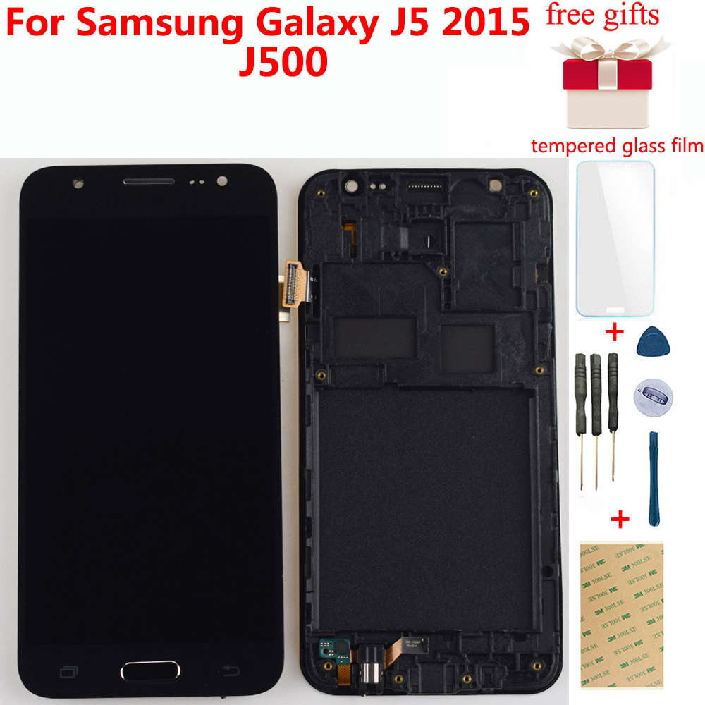 Für Samsung J5 2015 <font><b>LCD</b></font> Display <font><b>J500F</b></font> Digitizer J500 J500FN J500M <font><b>LCD</b></font> Touch Screen Digitizer Montage Rahmen Ersatz image