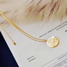 Americana Europea Simple Colorfast planeta collar con moneda de oro Ins Normcore estilo Retro suéter Cadena de clavícula Mujer