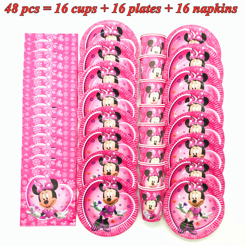 Hot Disney Minnie Mouse Theme Party Supplies Paper Cups Plates Napkins Kids Girls Baby Shower Birthday Party Decorations Sets