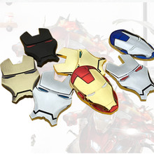 3D Chrome Metal Iron Man Car Emblem Stickers Decoration The Avengers Car Styling Decals Exterior Accessories for car volkswagen