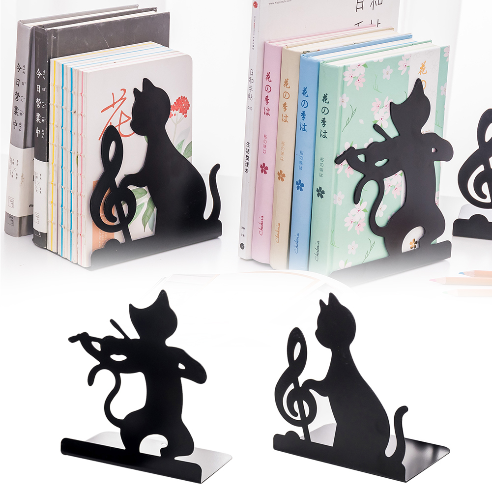 1 Pair Cute Cat Bookend Non-skid Iron Decorative Home Office Desktop Kawaii Magazines Practical Free Standing Black Catalogs