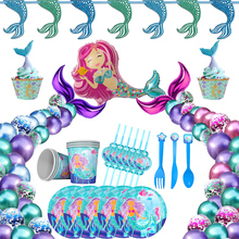 Mermaid Party Banner Decor Little Birthday Supply Tail Under The Sea Balloons Tableware