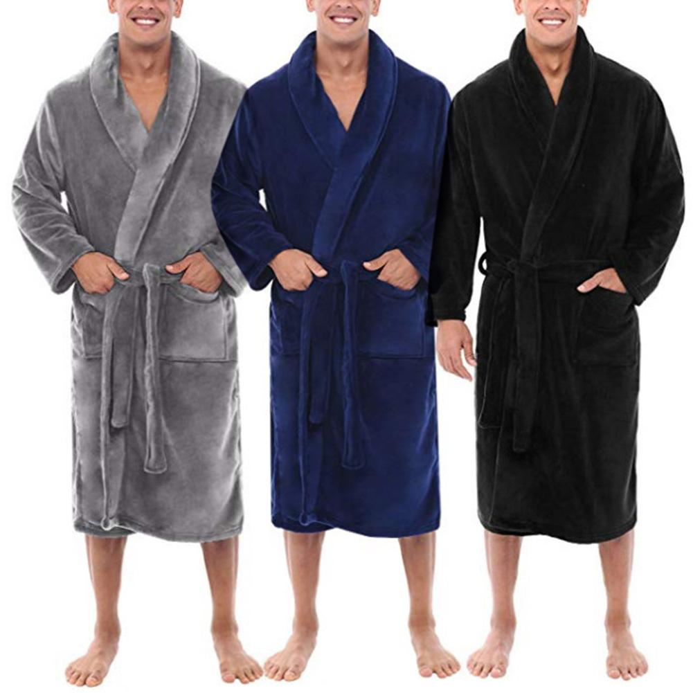 Winter Warm Bath Robe Men Bathrobe Nightgown Soft Flannel Bathrobes Men Thick Long Bath Robe Men's Bathrobe Home Gown Sleepwear