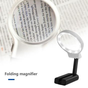 Portable Handheld 4X Folding Lamp Magnifying Glass Retro Handle Magnifier Eye Loupe Glass With LED Lights for Newspaper 5 trade loupe magnifying glass with led lamp pocket magnifier portable folding keyring