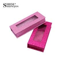 Caja de embalaje para pestañas postizas, estuche de 25mm con purpurina de visón 3d, almacenamiento vacío de pestañas con logotipo personalizado