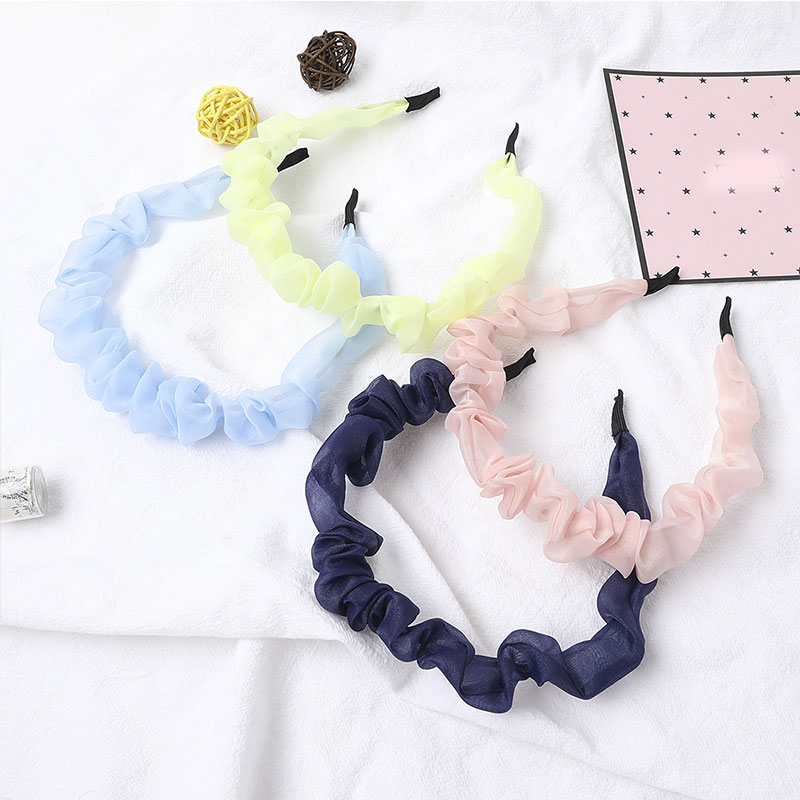 New Women Simple Wild Fold Lace Hairband Super Fairy Solid Color Organza Headband For Girls Turban Sweet Korean Hair Accessories