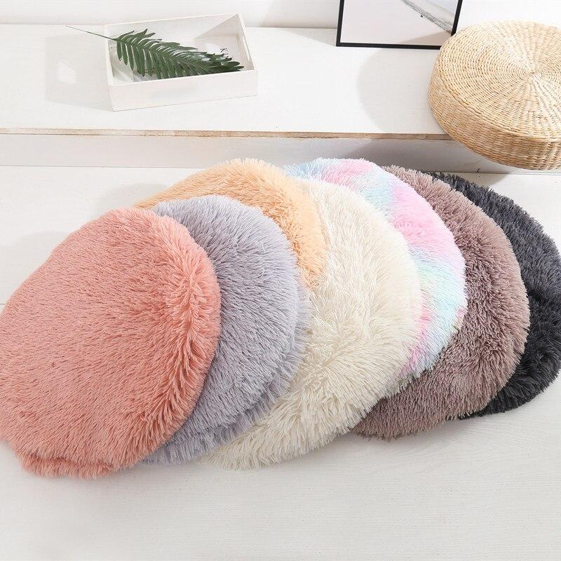 Круглая кровать для питомца, длинный плюшевый мягкий пушистый коврик для питомца, кровать для кошек, одеяло, коврик для маленьких собак, для ...
