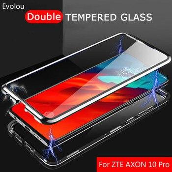 Перейти на Алиэкспресс и купить Чехол с магнитной адсорбцией для zte Z20 Z10 AXON 10, двухсторонний стеклянный металлический бампер, чехол для zte AXON 10 Pro, задняя крышка