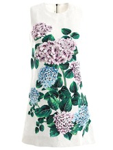 Baogarret Spring Summer Fashion Vintage Dress Womens  Sleeveless Sequined Appliques Floral Printed Elegant Vacation