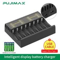PUJIMAX-cargador de batería inteligente, 8 ranuras con indicador LED para batería recargable Ni-MH/ni-cd, cargadores de protección de circuito corto