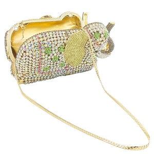 Image 5 - Женская сумка кошелек Boutique De FGG, с золотыми кристаллами и 3d рисунком слона, металлическая, для свадебного и выпускного бала