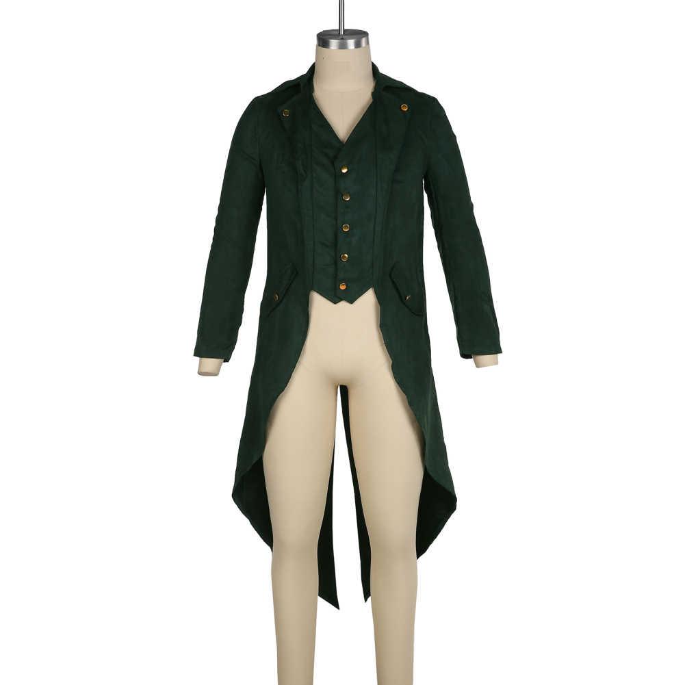 2019 גברים מימי הביניים רנסנס Cosplay תלבושות מוצק צבע ארוך טוקסידו אחיד מעיל משלוח חינם