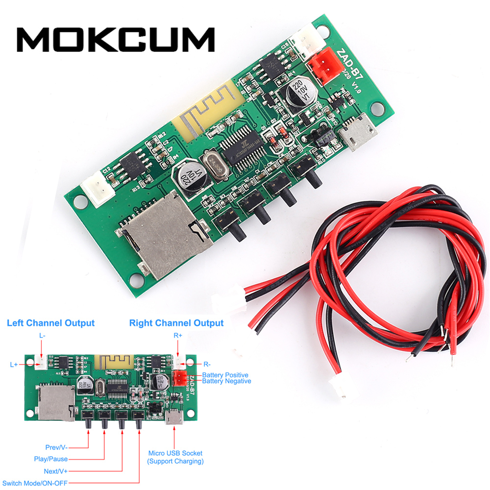 DC 3.7V 5V Bluetooth MP3 Decoder Amplifier Module 5W Stereo Wireless Lossless Music Player Mp3 Decoder Board