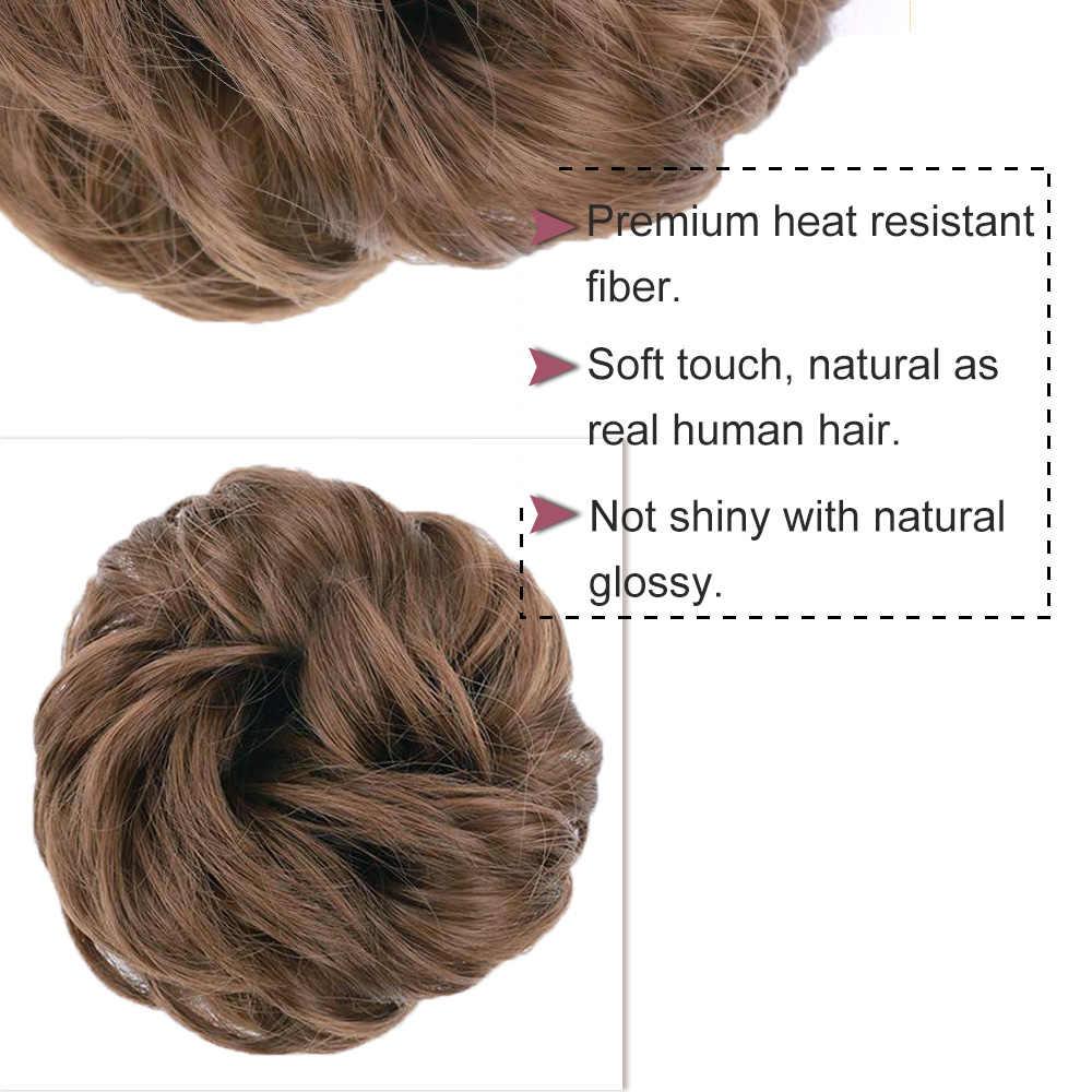 Estampadas gloriosas moño desordenado cabello Scrunchies moño sintético moño para el cabello pieza rizada ondulada Scrunchy Updo extensiones de moño