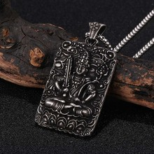 Vintage Stainless Steel Carved Bodhisattva Lucky Amulet Pendant Necklace Men Personalized Square Pearl Necklaces Gifts 2020