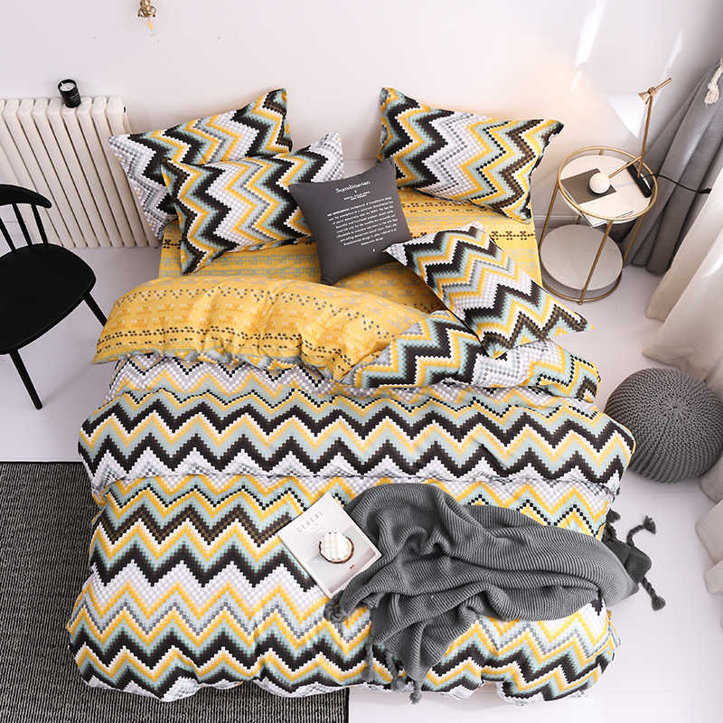 Classic Red Yellow Geometric Pattern Bedding Set Bed Linen Duvet Cover Flat Sheet Pillowcase Sets Queen King Twin Full Size