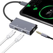 Lefon 3 で 1 USB タイプ C に 3.5 ミリメートルヘッドホンジャックアダプタコンバータ + PD 充電ポート DAC 技術 Xiaomi 華為、 Htc Google