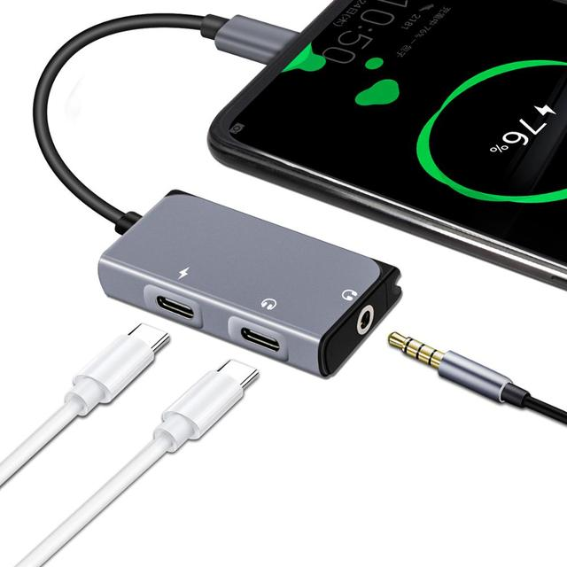 Lefon 3 en 1 USB tipo C a 3,5mm adaptador de conector de auriculares convertidor + puerto de carga PD DAC tecnología para Xiaomi Huawei HTC Google