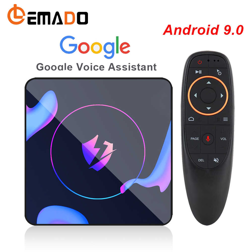 LEMADO tv, pudełko Android 9.0 RK3318 4GB RAM 64GB ROM 4K Netflix Youtube Google Voice Assistant LET1 tv box z androidem oddychające światło