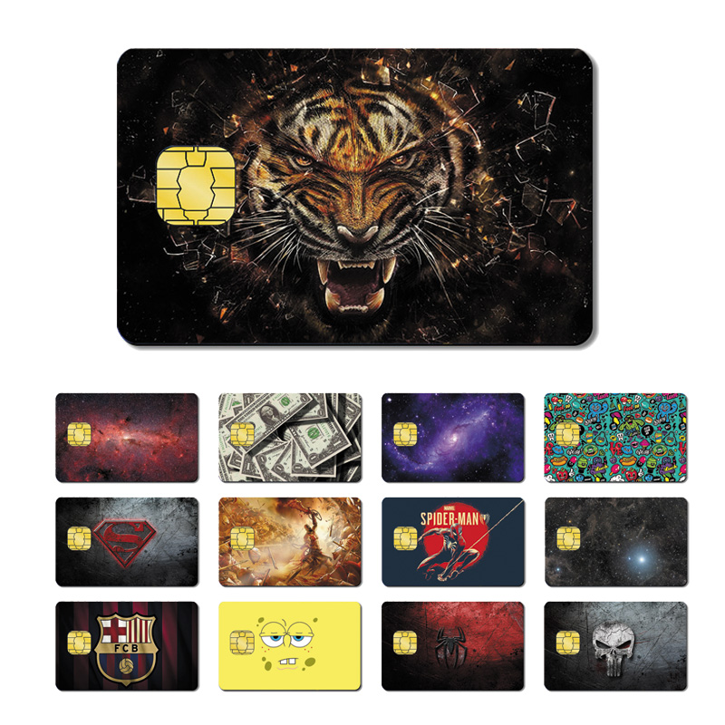 Magic Shark Spider Man Batman Marvel Tiger Stary Sky God Of War Spongebob PVC Credit Card Skin Sticker Film Case No Fade