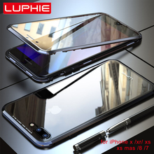 Luphie Full Wrapped 9H Tempered Glass Magnetic Case for iPhone 7 8 X Magnet Phone Plus XS MAX XR Cover