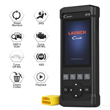 Launch CR619 OBD2 Scanner Diagnostic Tool Read Clear DTCs OBDII ABS SRS Airbag Scan Engine Professional Free Update Online
