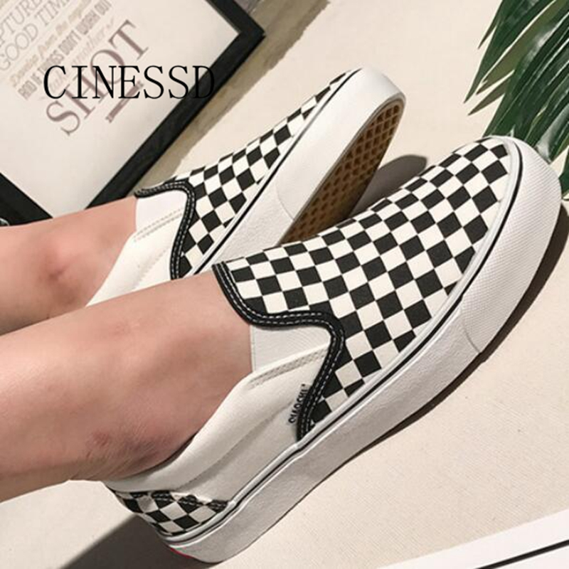 Canvas-Shoes Elastic-Band Women Sneakers Black Check White 12 For Couples Round-Head
