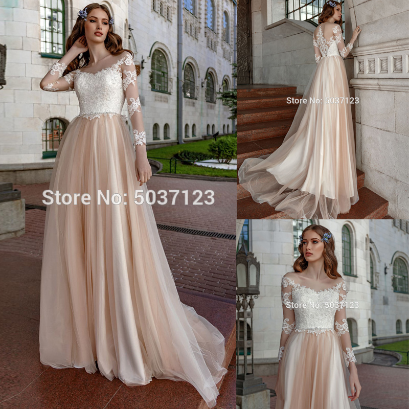Vestidos De Noiva A Line Long Sleeves Wedding Dresses Scoop Lace Appliques Button Illusion Sweep Train Wedding Bridal Gown