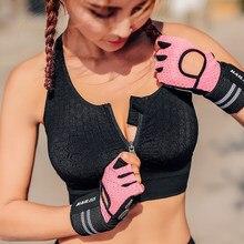 Mulher zíper push up sutiãs, mais tamanho xl respirável topos fitness gym yoga esportes à prova de choque correndo colete anti-suor