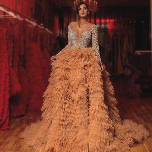 Image 4 - Luxo champagne babados tule vestidos de noite mangas completas brilho cristal frisado renda a linha sexy vestidos de baile