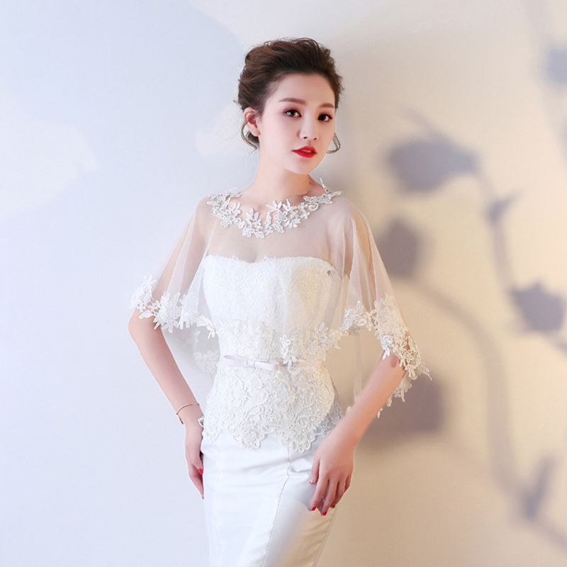 Women Single Layer Sheer High Low Wedding Shawl Wrap Floral Lace Applique Splicing Trim Bridal Evening Cape Shrug Capelet