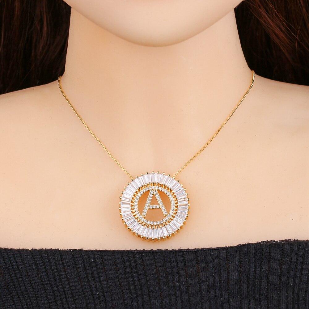 Cor do ouro alfabeto inicial letra capital pingente colar 26 letras inglesas pingente colar femal presente moda jóias pgytle41
