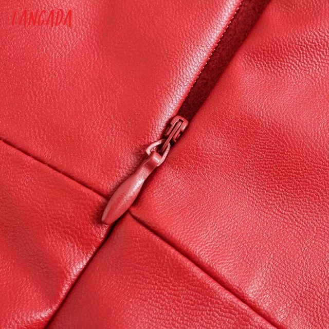 Tangada Women Faux Leather Sexy Dress Sleeveless Backless 2021 Fashion Lady Party Midi Dresses 3H853 5