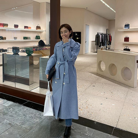 Autumn and winter New style belt coat Women fashion Plaid Long Wool Blend Overcoat Casual Loose Trench Coats Pakistan