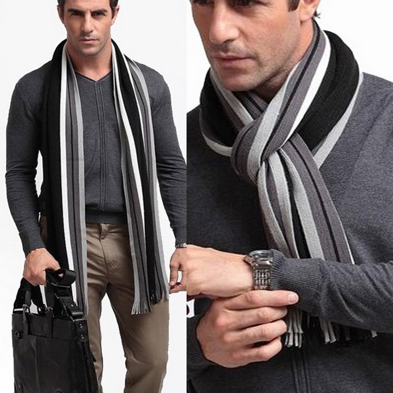 Laamei Winter Designer Scarf Men Striped Cotton Scarf Male Brand Shawl Wrap Knit Cashmere Bufandas Striped Scarf With Tassel