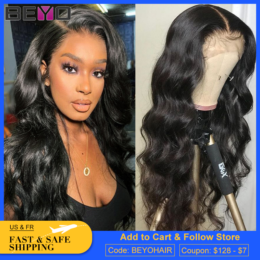 Brazilian Body Wave Lace Frontal Wig Glueless Lace Front Human Hair Wigs Pre Plucked 150 180 250 Density Lace Wigs Beyo Remy Wig