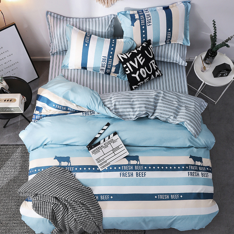 Lanke Plaid Pattern Bed Bedding,UK-Single Double Queen Size Bedding Sets, 200*200 Size 3pcs,Bed Linen Cotton