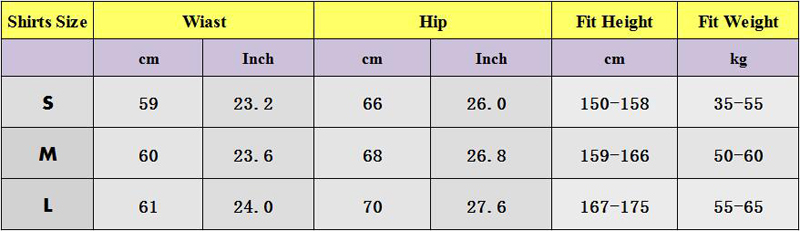 Yoga Pants And Runnig Leggings Size chart