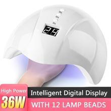 36 Вт Сушилка для ногтей Светодиодный УФ-лампа для всех гелей 12 Светодиодный s УФ-лампа для маникюрной машины отверждение 30 s/60 s/99 s таймер USB разъем лак