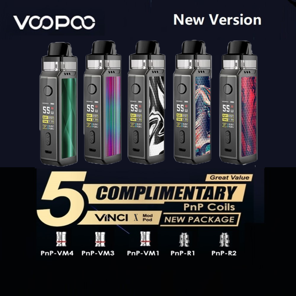With 5pcs Coils Original VOOPOO VINCI X 70W Pod Kit  Dual-coil System Powered By One 18650 Battery No Battery Vape Kit VS Drag 2