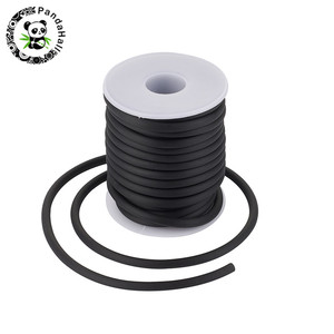pandahall 5mm Round Hollow Silicone Cord Jewelry Findings for Jewelry Making DIY White/Black/Blue/Red/Pink/Green/Orange 10m/roll