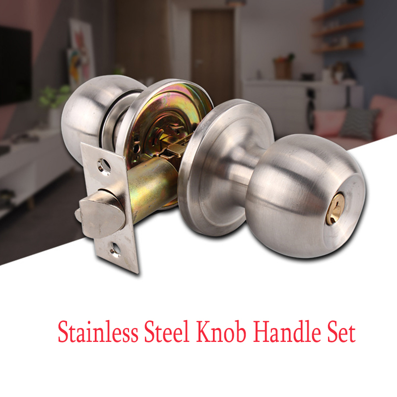 Stainless Round Door Knobs Rotation Lock Knobset Handle Stainless Steel Door Knob With Key For Bedrooms Living Rooms Bathrooms